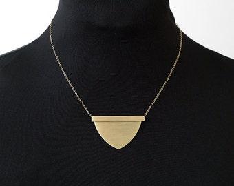 HATHOR || Shield Necklace || Brass Pendant || Gold Filled Chain || Statement || Chest Piece || Raw Brass Tube || Bronze || Boho || Art Deco