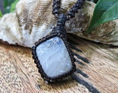 Moonstone Macrame Wrapped Pendant Necklace - Dark Brown Thread