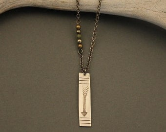 Juju sterling silver stamped arrow necklace with turquoise, pyrite and brass beads and gunmetal chain