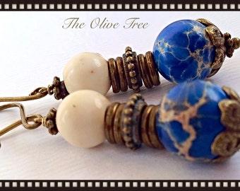 Peacock Blue Natural Gemstone Bohemian Dangle Earrings - Boho Earrings - Zen Earrings - Hippie Earrings - Gypsy Earrings - Meditation