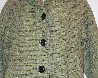 Vintage Green Coat 1960's Ladies 3 Button Tweed Coat Fall Season Sale 16 % OFF Coupon Code FALL16