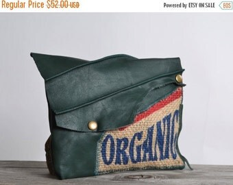 End Of Summer SALE Organic Leather Clutch - Green Leather Clutch - Up-cycled Leather Clutch - Organic
