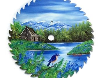 Hand Painted Saw Blade Mountain Summer Scenery  Log Cabin w BlueBird