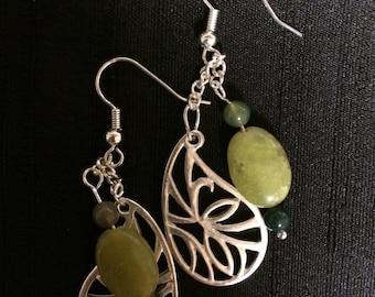 Spring leaf dangle earrings