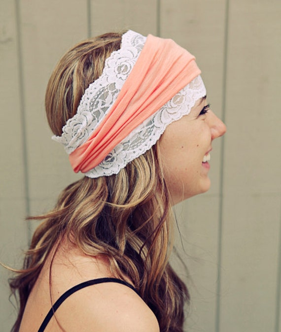 Wide Fabric Headband with your choice of color and lace trim