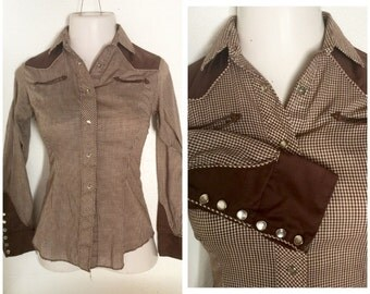 Cowgirl pearl snap brown two tone gingham rodeo shirt XS