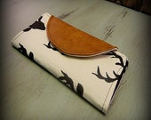 Bifold Wallet- Long Wallet- Billfold Wallet- Carry All Wallet- Clutch Wallet- Fabric Wallet- Checkbook Wallet- Credit Card Wallet, Deer Head