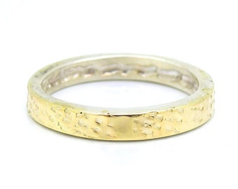 Hammered sterling silver & gold wedding ring