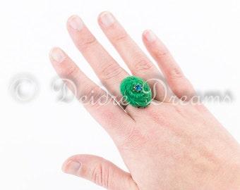 Green Boho Felt Ring, Shabby Chic Ring, Eco Friendly Jewelry, Textile Fiber Jewelry, Felt Jewelry, Hippie Spiral Adjustable Statement Ring