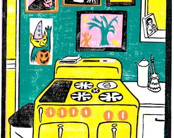 Kitchen Lino Print