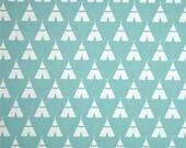 Teepee fabric Aqua and White  1 yard