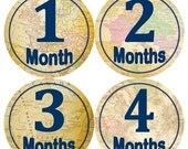 ON SALE Baby Monthly Milestone Growth Stickers Vintage World Maps Navy Travel Nursery Theme MS835 Baby Boy Girl Shower Gift Baby Photo Prop