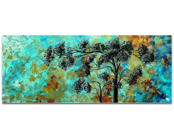 Landscape Painting 'Spring Blooms' by Megan Duncanson - Abstract Tree Art Impasto Cool Tones on Metal or Acrylic
