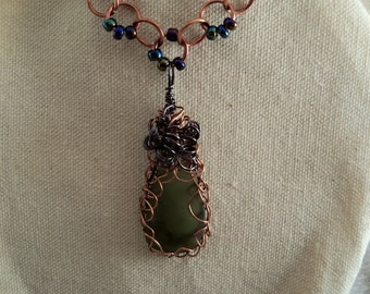 Wire-Wrapped Frosted Desert Glass Pendant