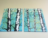 "SALE Original Handmade 24""x18"" Minnesota Art: Large Double (Set of 2 Canvases) Painting of Birch Trees/Abstract Nature in"