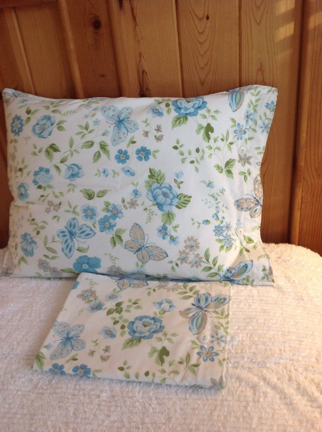 Vintage blue rose and butterfly pillow shams shabby chic rose