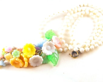 Flower Cascade Necklace Colorful Plastic Floral Tassel Necklace Made In Japan Springtime Bounty