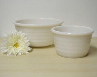 2 Moderntone Mixing Bowls - Vintage Hazel Atlas Milk Glass w/ Horizontal Bands White 1940s Serving Salad Fruit Batter / Mid Century Modern