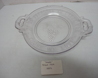 Vintage Antique Light Purple/ Gray Round Glass Bread Plate with Handles Grape Pattern