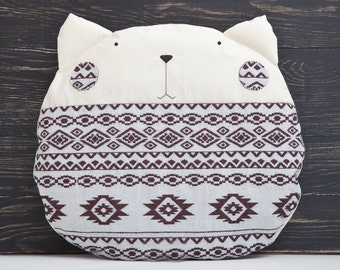 White pillow, Cat, Tribal Decorative Pillow, Children's Room Decor, Home Decor
