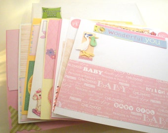 Baby Girl 20 Complete pages Scrapbook. 8x8 White Album and pre-made pages.  8 Inch complete Handmade Embellished Girl Scrapbook