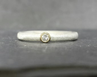 Precious - 9ct 9k gold bezel set natural diamond ring, silver skinny band UK ready to ship