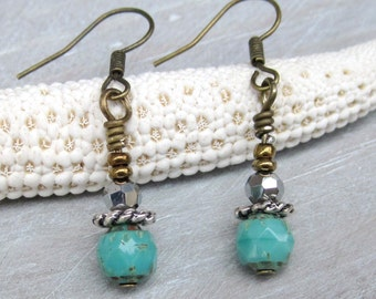 Earrings Antique Gold Turquoise Czech beads Bohemian Boho Chic