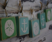 Set of 5 Ornaments Rustic Nautical Beach Anchors and Sand Dollars