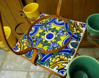 Vintage California tile Spanish Revival tile table or drink stand wrought iron Bauer pottery cups or tumblers Catalina tile era