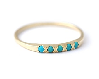 Pave Turquoise Wedding Ring - Thin Turquoise Ring - 14K Solid Gold