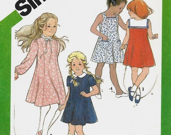 VTG Simplicity 9936 Girls Dress Pattern, 4 Versions, Size 4, UNCUT