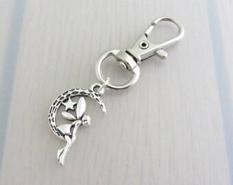 Silver Fairy On The Moon Charm Purse Clip, Fairy Zipper Pull, Fairy Handbag Charm, Crescent Moon Bag Charm, Star Moon Handbag Charm