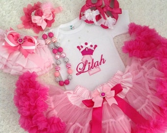 3-pcs set Crown number Birthday Outfit-Include personalised Top,Super fluffy skirt and matching headband