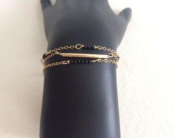 Gold, Bar, Black, Delicate, Beaded Bracelet
