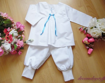 Christening suit satin bow/cross 1, 100% cotton