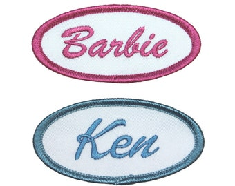 Set Of 2 Barbie and Ken Name Tags Embroidered Iron On Uniform Applique Patch