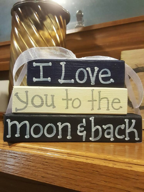 I Love You To The Moon & Back - Wood Block set