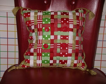 Bright Woven Ribbon Pillow