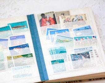 Stamp book with Vintage International Stamps