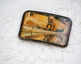 Vintage Indian Canoeing Belt Buckle - MASTERWORK