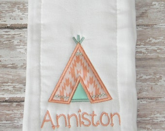 Teepee Embroidered Burp Cloth in Mint & Coral