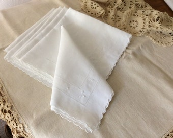 Six SNOWY WHITE Linen Dinner Napkins