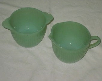 Vintage Jadeite Jane Ray Sugar Bowl and Creamer Set by Anchor Hocking NO LID