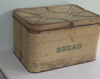 Large Vintage Cream & Green BREAD Tin