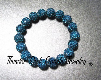 Turquoise Shamballa Beads Bracelet Stretch Pave Sparkly Beaded Disco Ball Bling Crystals