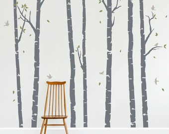 Birch Trees Forest Wall Decal - Vinyl Wall Decal, Birch Forest Wall Decal, Woodlands Nursery Theme, Nursery Tree Sticker, Forest Wall Art