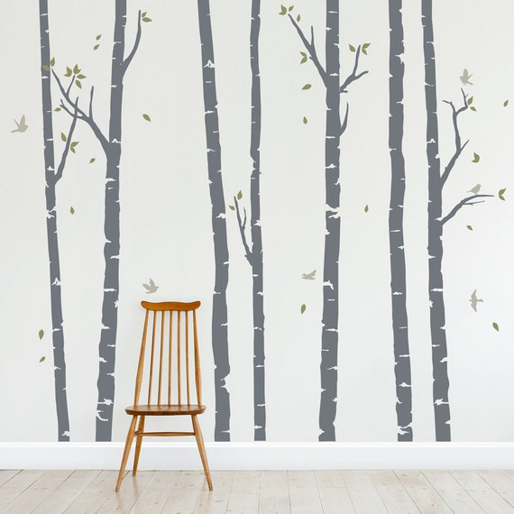 birch trees forest wall decal vinyl wall decal birch forest