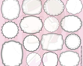 Digital Frames Clipart Commercial Use DIY Label Tags Craft Teacher Office Scrapbook White Middles VECTOR Images Jpeg Png Files 10506