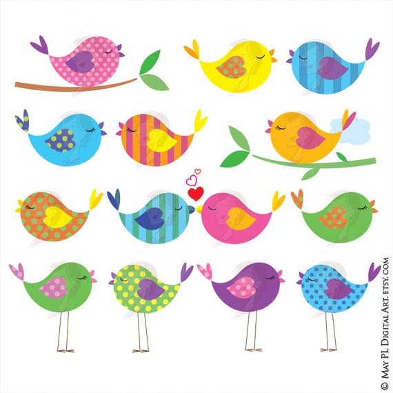 Cute Bird Clipart Love Birds On A Branch Commercial Use ...