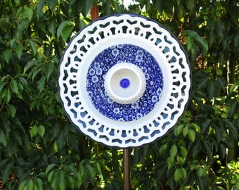 Vintage Blue Floral Glass Plate Flower garden art - fence art, repurposed upcycled recycled garden art - outdoor decorations - fence art